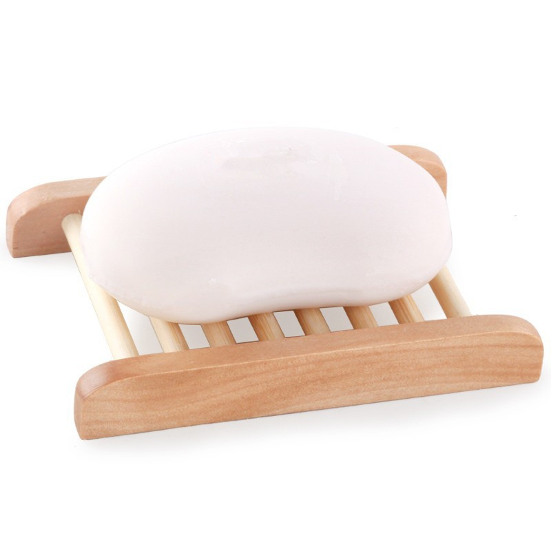 US STOCK Natural Bamboo Wood Bathroom Shower Soap Tray Dish Holder Plate