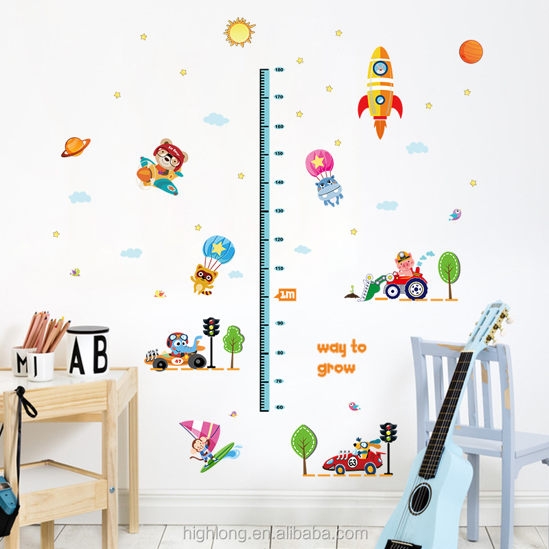 Colorful Home Decor Bedroom Wall Sticker Animal Growth Chart For Kids