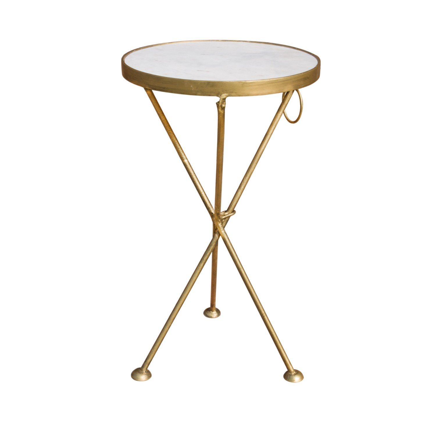 Get Quotations · Four Legs Marble U0026 Metal Brass Color Folding End Table/Side  Table/Coffee Table