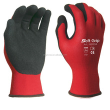 Soft liner sandy nitrile coated touch screen work gloves