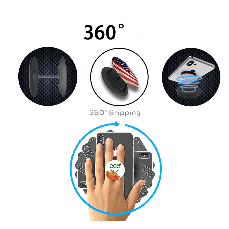 2019 New Custom Fashion Finger Desk Stand Phone Hand Lazy Cord Wrap Grip Phone Stand Socket Holder For Smartphones