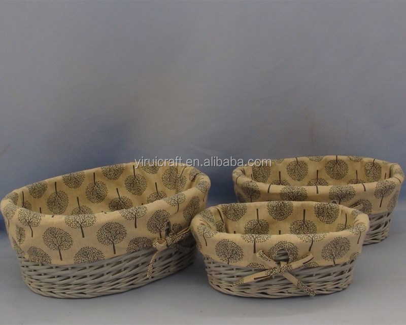 Customized scirpoides holoschoenus and paper rope storage basket set of 3