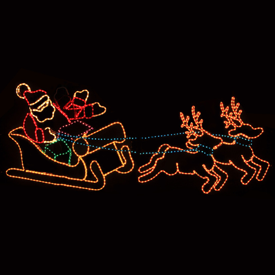 Christmas Moving Lighted Reindeer And Sleigh For Decoration