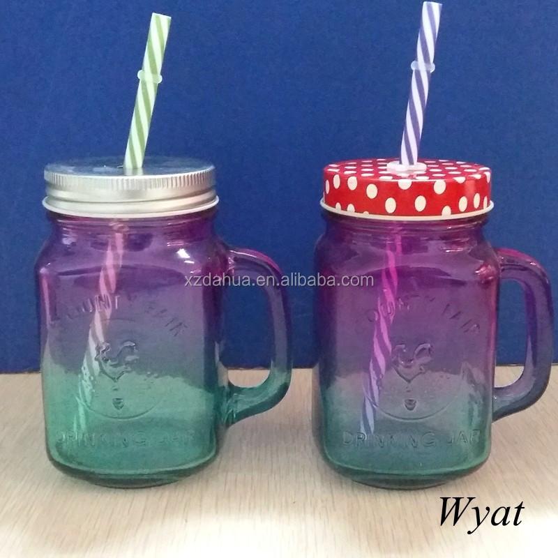 pas cher 16 oz pulvrisation couleur vaisselle potable verre pot verre alimentaire pot avec poigne - Vaisselle Colore Pas Cher