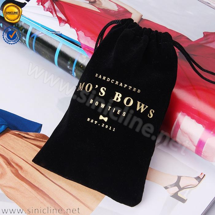 Güneş Doğa yeni gelenler tam siyah büzme ipli kadife çanta takı için altın sıcak damgalama logolu
