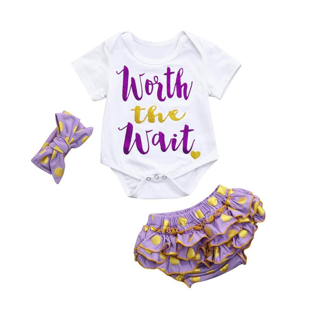 4c71733ffe7d Get Quotations · G-real Infant Baby Girl Letter Printed Romper Tops+ Polka  Dot Ruffle Shorts+Headband