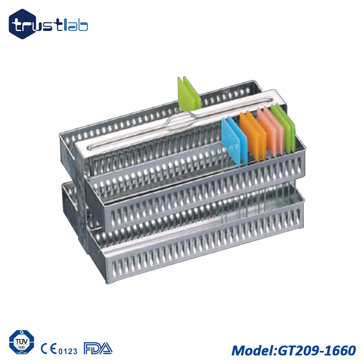 uxcell Lab Spare Parts Microbiology Stainless Steel Staining Rack 60 Slots