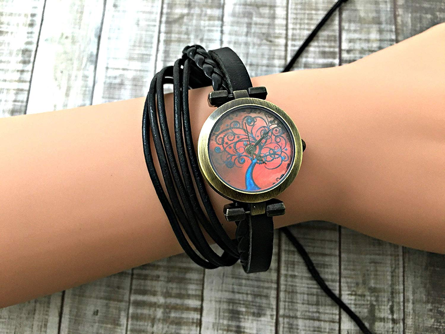 Tree Wrap Bracelet Leather Watch, Leather Wrap Bracelet Watch, Leather Wrap Art Watch, Vintage Retro Wrap Bracelet Watch, Wrap Genuine Leather Watch 010