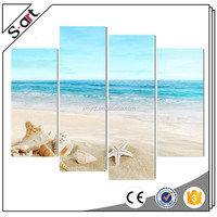 Wholesaler 4 panels blue seaside beach shell canvas painting set
