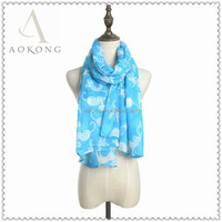 Cute fashion animal blue cat print scarf