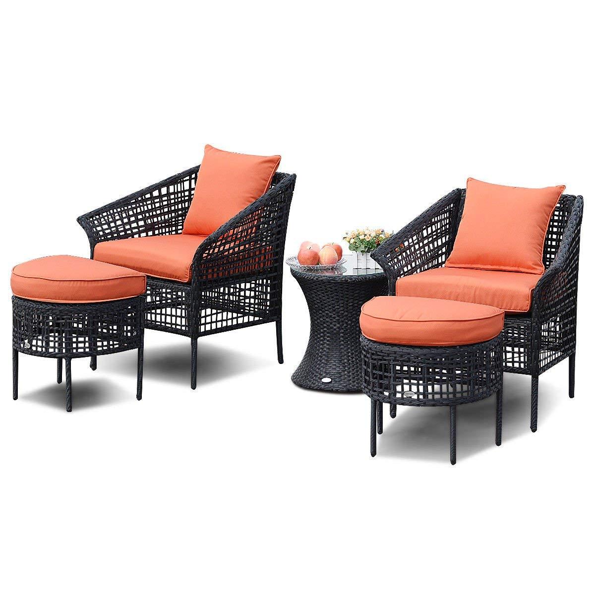 Outdoor 5pcs Pe Rattan Furniture Set 2 Ottomans Single Sofas 1 Tempered Gl Coffee Tea