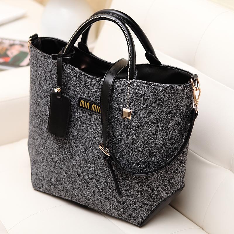 2015 femmes printemps sac main tendance vintage couleur m lang e sac de laine portable simples. Black Bedroom Furniture Sets. Home Design Ideas