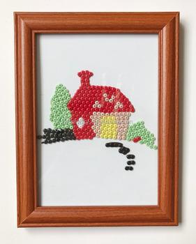 Mahogany Frame Carton Creative Diy Crafts Educational Button Art