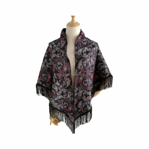 New spring floral printed double side black triangle shawl