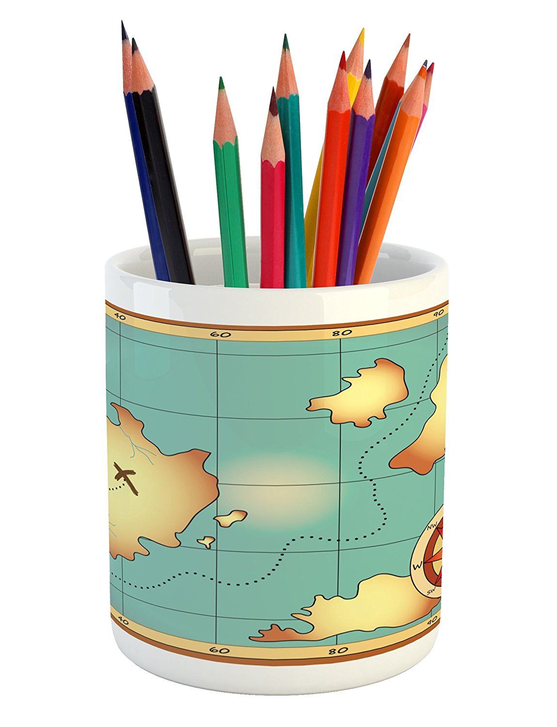 Island Map Pencil Pen Holder by Ambesonne, Ancient Treasure World Map Design with Compass Navigation Adventure Hidden Land, Printed Ceramic Pencil Pen Holder for Desk Office Accessory, Cream Blue