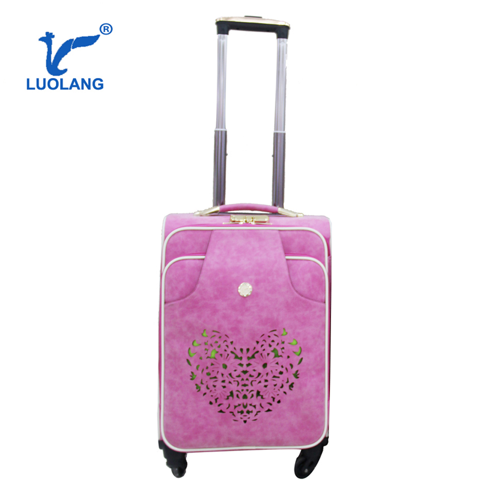 pink carving flower hot sale superior design nobuck PU on wheels cheap best selling travel trolley bags