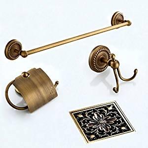 LightInTheBox Antique Bronze Bathroom Accessory Set Towel Bar, Robe Hook, Toilet Paper Holder, Floor Drain Set Bath Collection Set Bathroom Storage