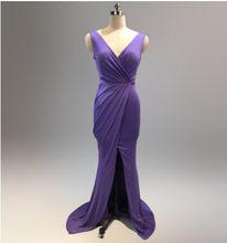 Новинка, простое вечернее платье Русалка, элегантное платье с v-образным вырезом, плиссированная Талия, высокий разрез, Дешевое платье для б...(Китай)