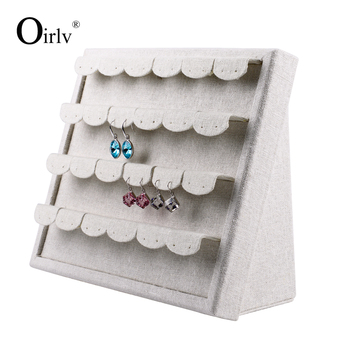 Oirlv Small Order In Stock Jewelry Earring Organiser Removable Display Card Wood With Linen Stand For