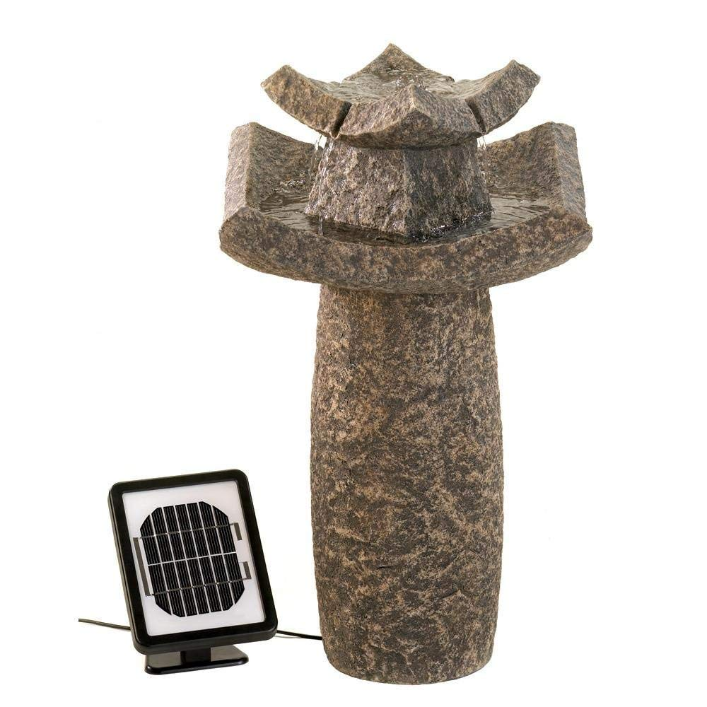 MyEasyShopping Temple Solar Water Fountain, Asian Temple Solar Water Fountain, Fountain Temple Solar Water Garden, Electric Patio Stone Look Outdoor Yard Pump Modern New Decor New Dramatic Outdoor