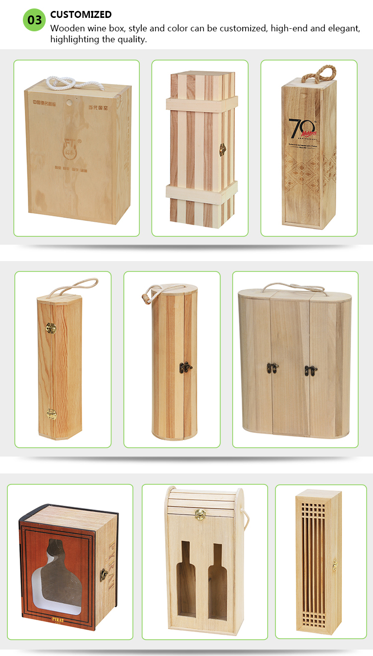 Wholesale Environmental wooden wine box with customized logo