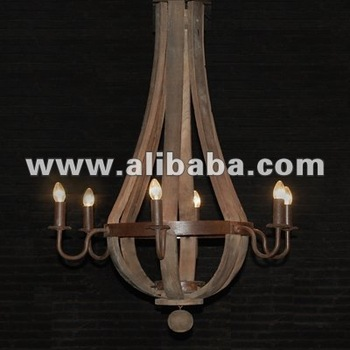 French Salvage Wood Wine Barrel Chandelier