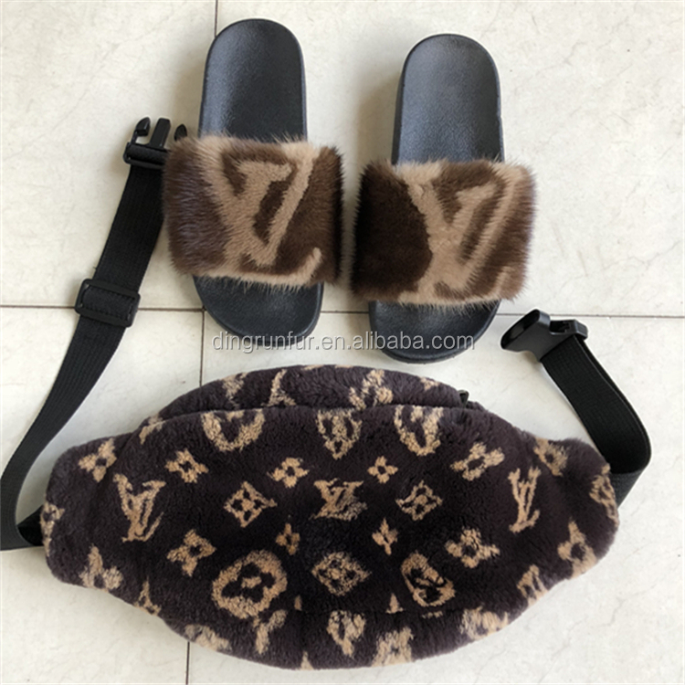 women fashion nature mink fur <strong>slippers</strong>