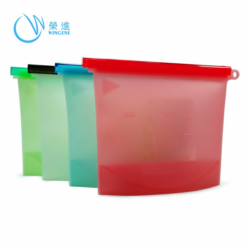 Wingenes Seal Reusable Fresh Vegetable Easy Clean Silicone Food Storage Bag