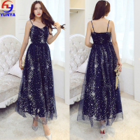 Sexy woman clothing long Christmas star print evening designer one piece party girls' dress