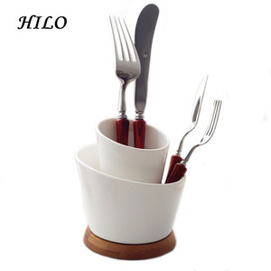 Dinner room 2 layers ceramic fork knife holder