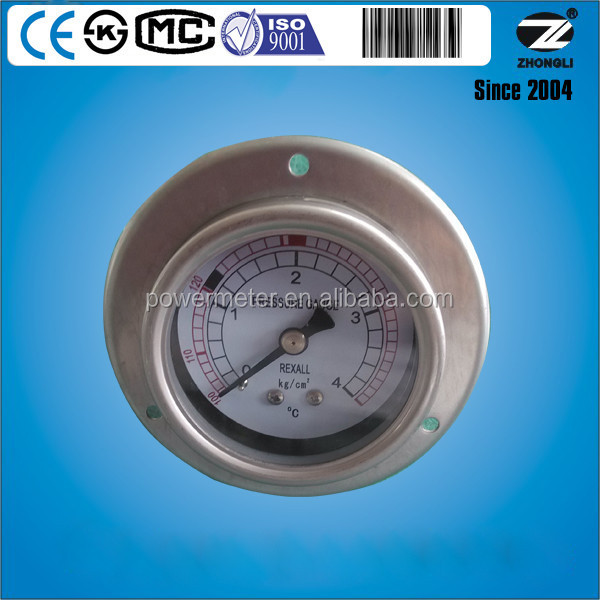 stainless steel 63mm 4Kg pressure and temperature combination gauge with flange