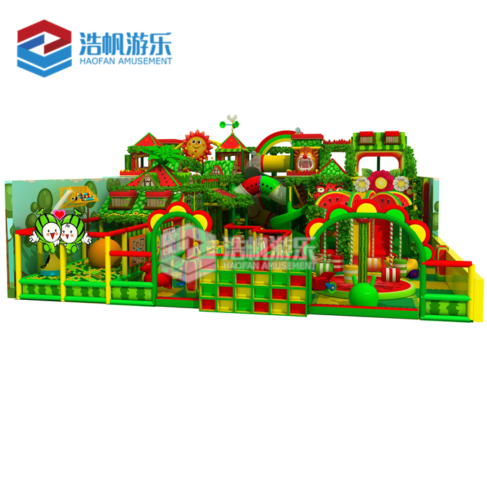 Forest Themed Indoor Playground Fence Soft Play Games Children Indoor Big Slides For Sale