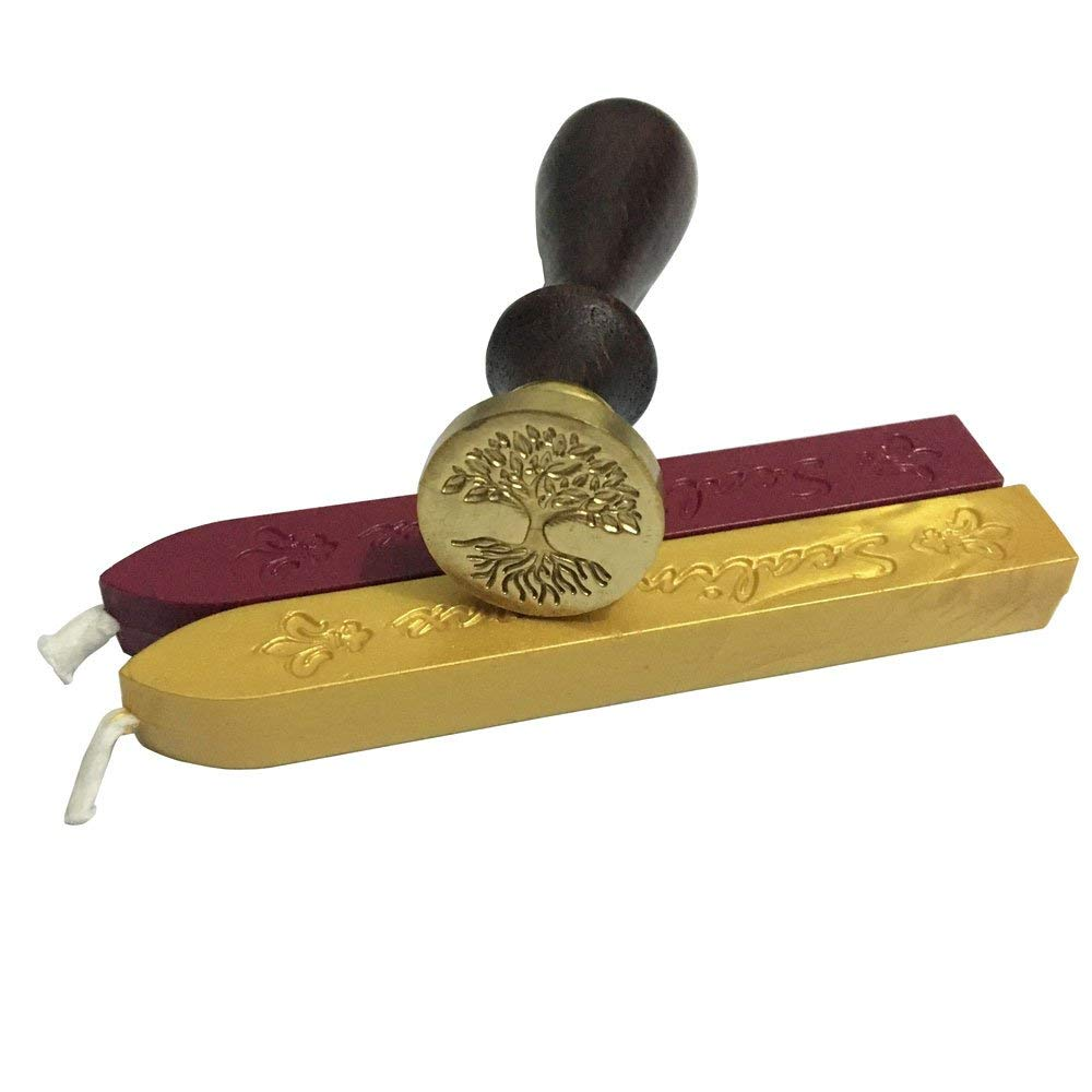 Tree Wax Seal Stamp with 2 Sealing Wax, Golden and Wine Red Wax