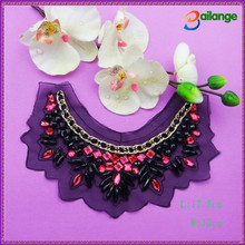 newest bead trimming bead necklace embroidery bead collar bridal beads lace embroidery applique for garment decoration