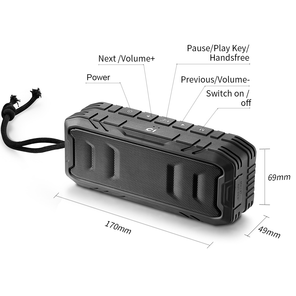Big power Portable outdoor IPX5 waterproof Bluetooth Speaker with 2 speaker passed CE,ROHS