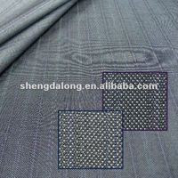 SDL21049 Gray and Blue Men Stripe Suiting Rayon / Polyester / Wool