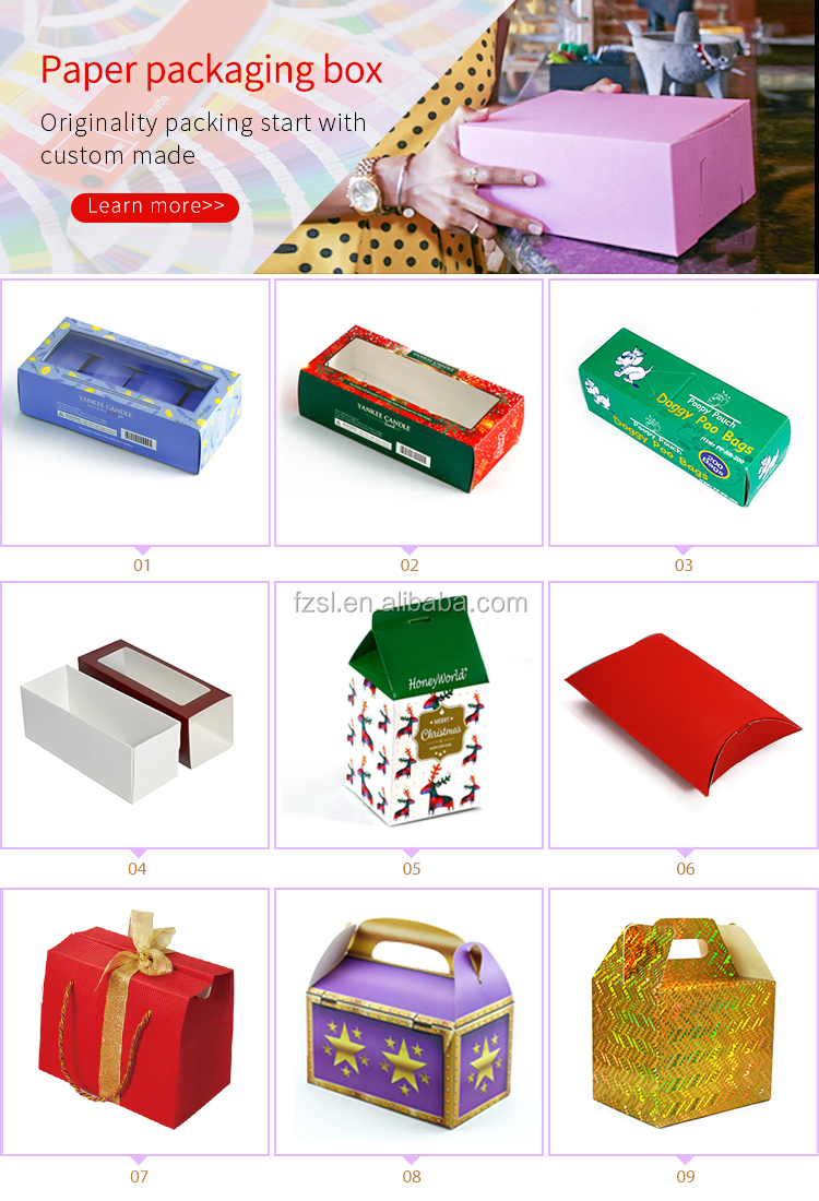 wholesale custom printed pillow paper packaging box with die cut handle