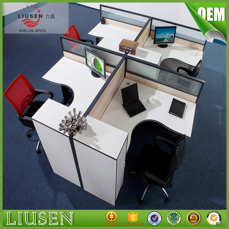 Cheap price factory direct call center furniture modern office cubicles 4 seater workstation