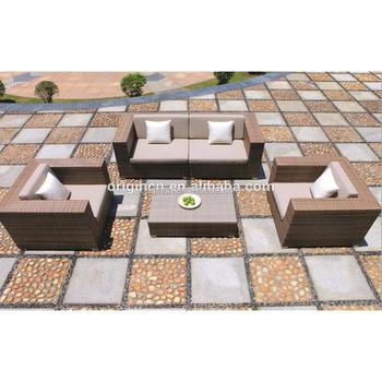 Fireside Sunroom Balcony Use Module Design Rattan Sectional Sofa Set