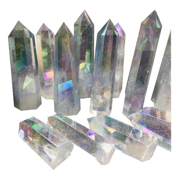Natural Angel Aura Clear Healing Crystals Points Obelisk Clear Quartz Crystal Wands For Sale