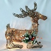 Life size Christmas home indoor decoration Mistletoe rattan laying deer with led