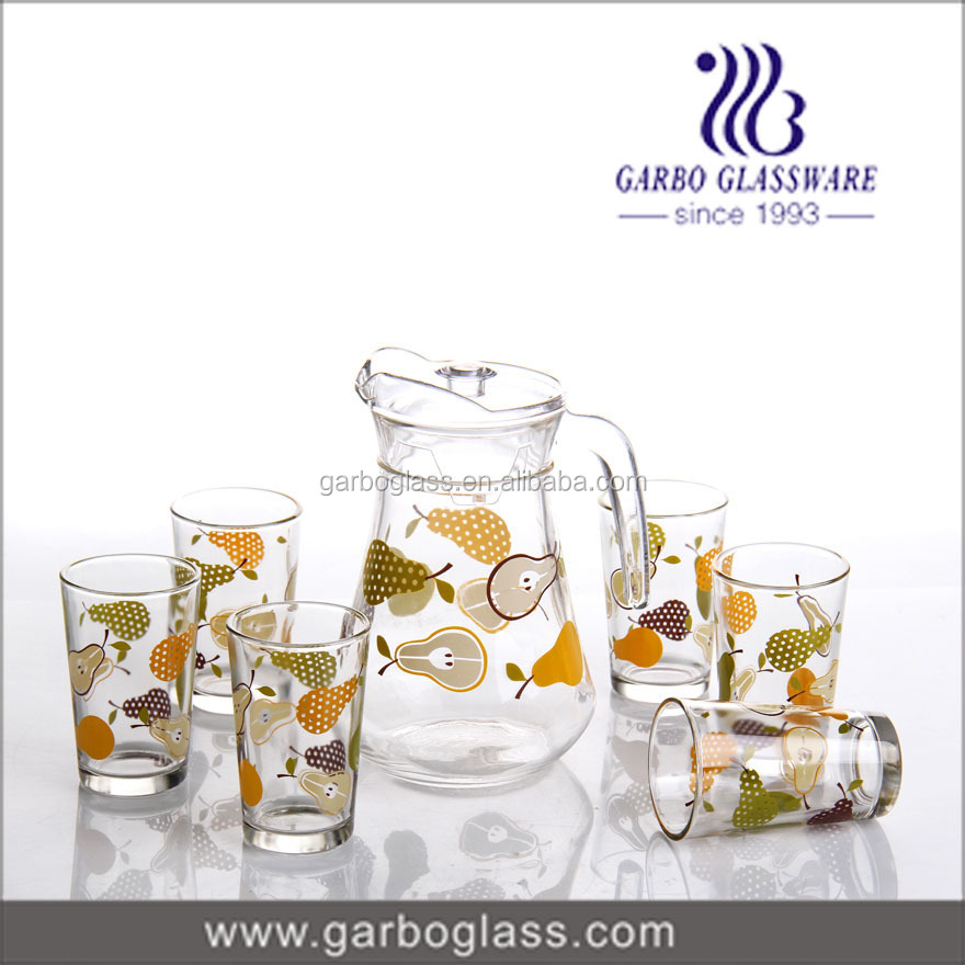 7 Pcs Glass Set With Color Printing,Glass Water Drinking Juice Jug ...