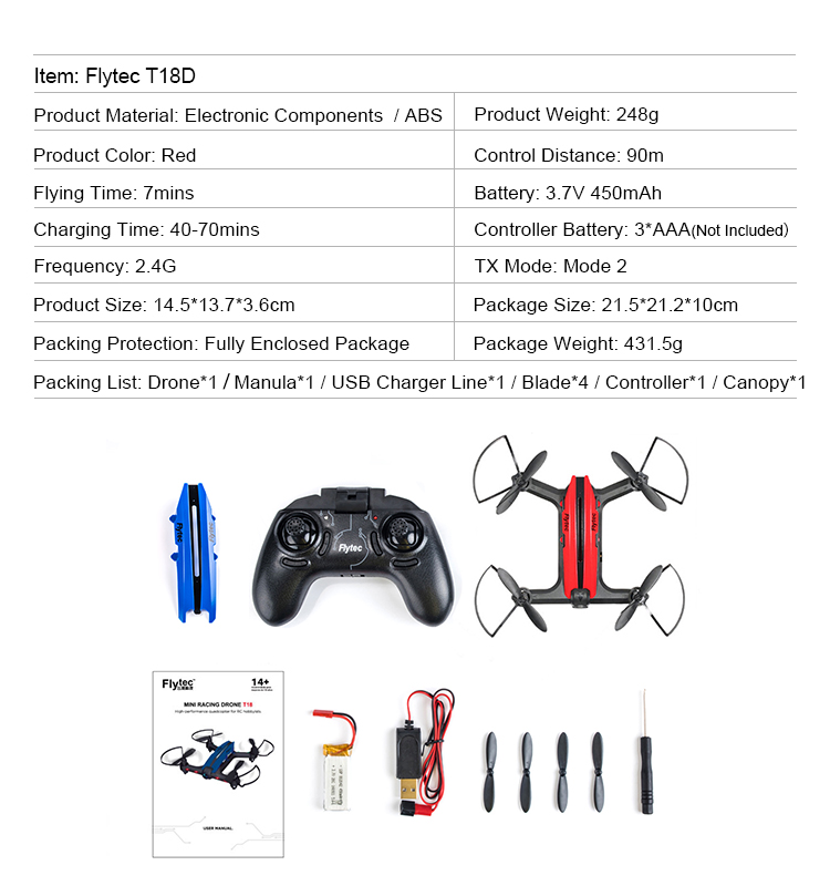 Flytec T18D FPV RC Drone with HD Camera 2.4G 4CH 6-axis Gyro Headless Mode 3D Flip RC Drone Quadcopter RTF Red