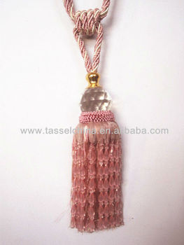 Fashion Pink Crystal Beaded Tel Tiebacks For Curtains Tie Back T