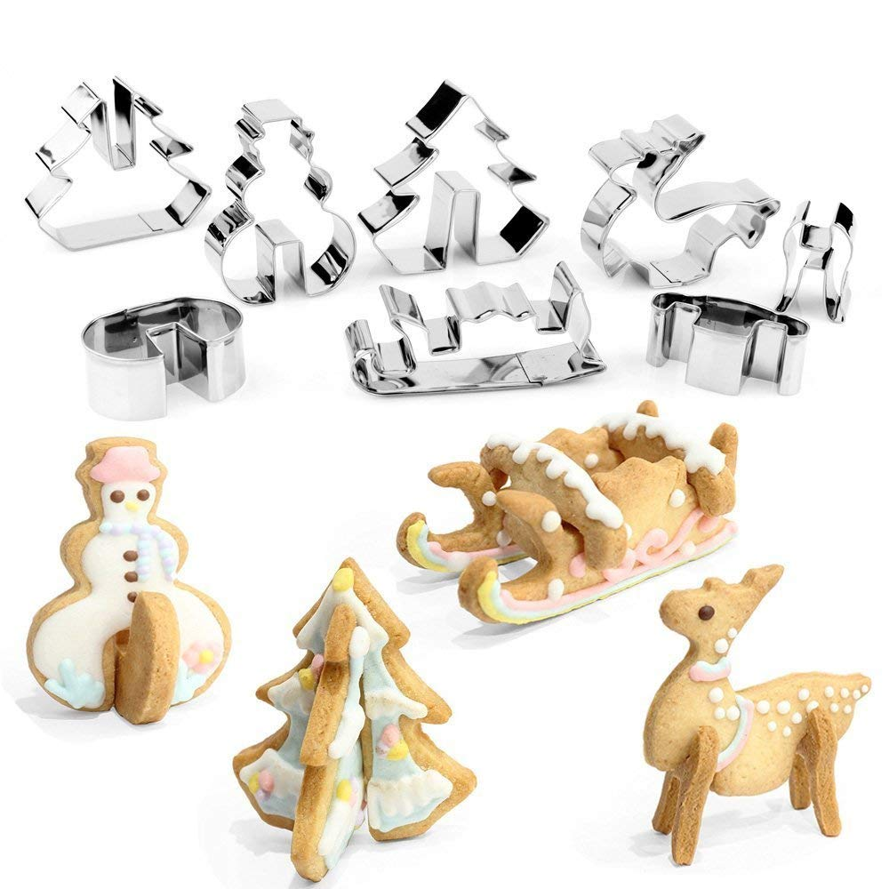 3D Christmas Cookie Cutters Set Stainless Steel Food Grade - Snowman, Christmas Tree, Reindeer, Sleigh - 8 Piece