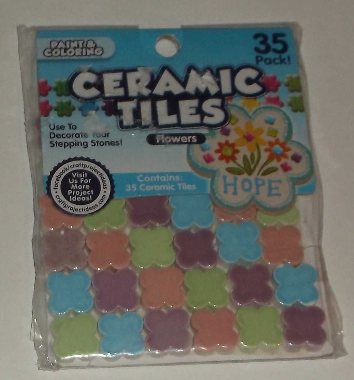 Mosaic Flower Ceramic Tiles, 35-Pack, Multi-Color