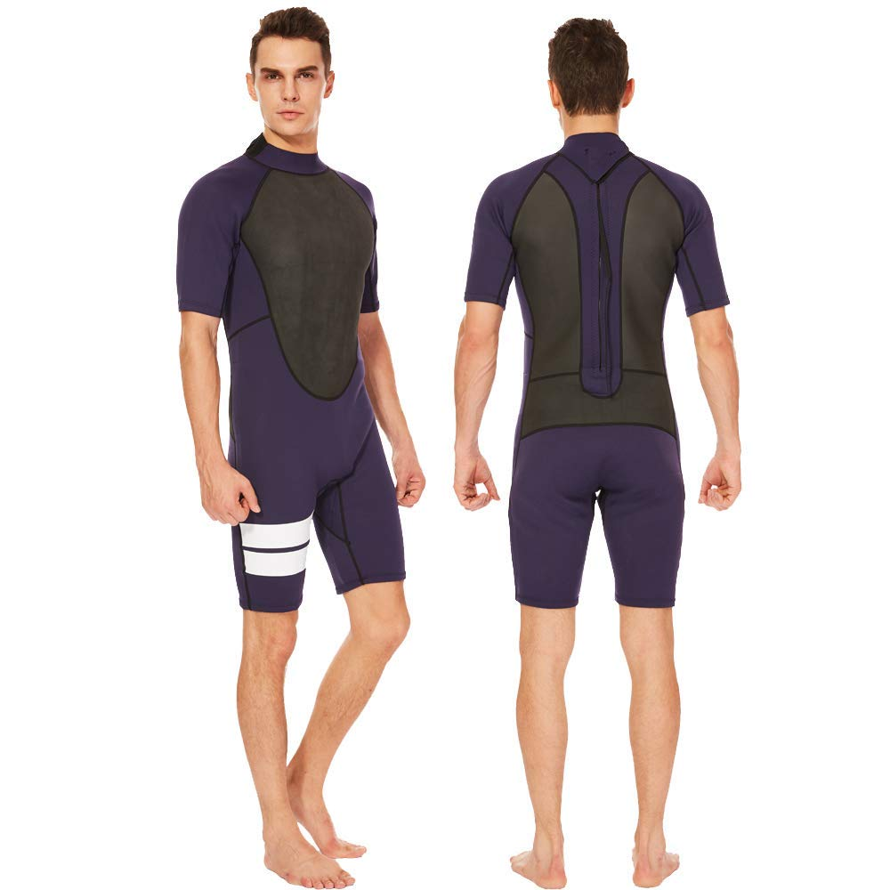 11f86c92b8 Get Quotations · Flexel Adult s Shorty Men Wetsuits 3mm Neoprene Back Zip Diving  Suits Cold Water and Outdoors Sports