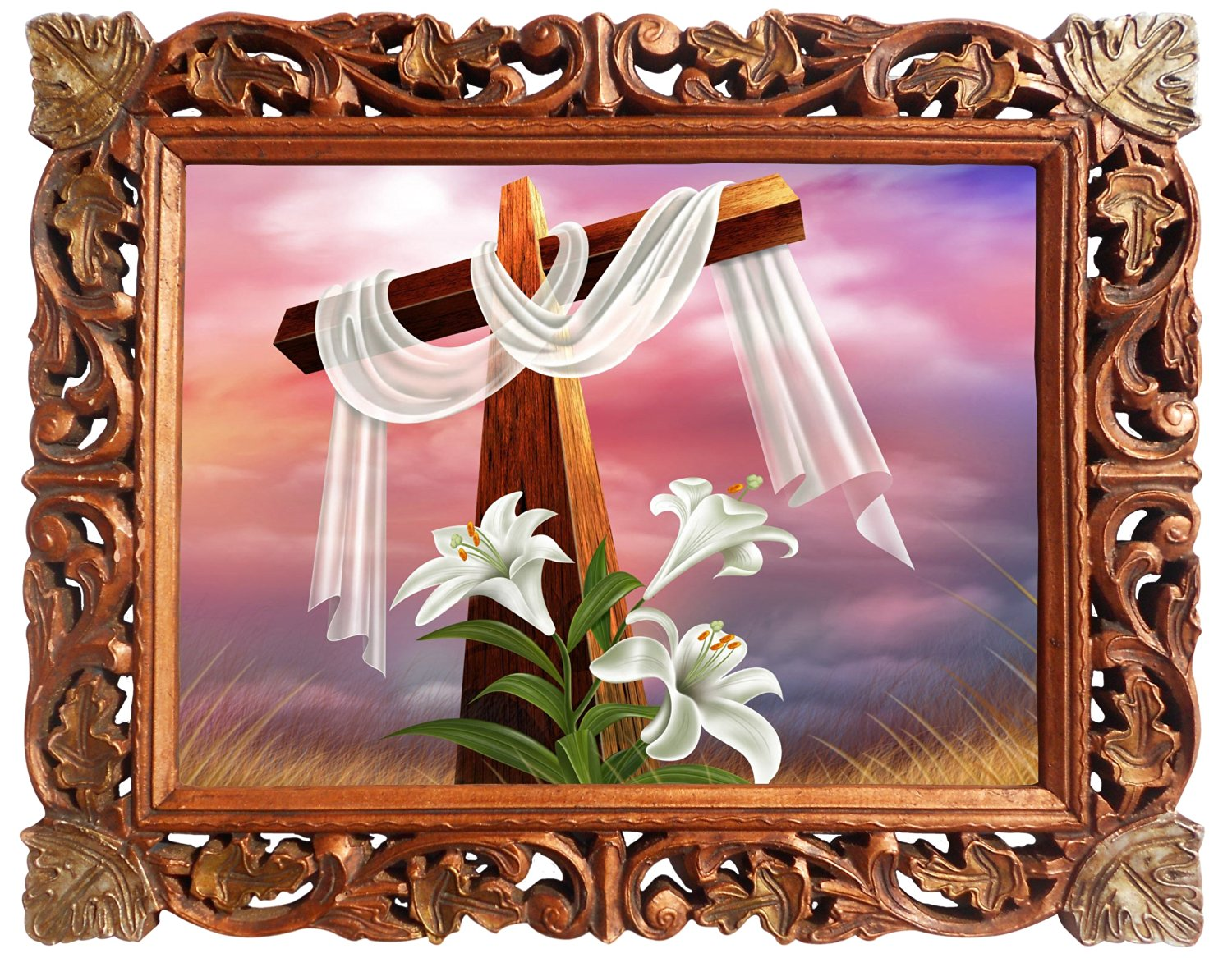 Buy Christmas Cross, Poster Framed in Wood Craft Frame, Indian Wood ...