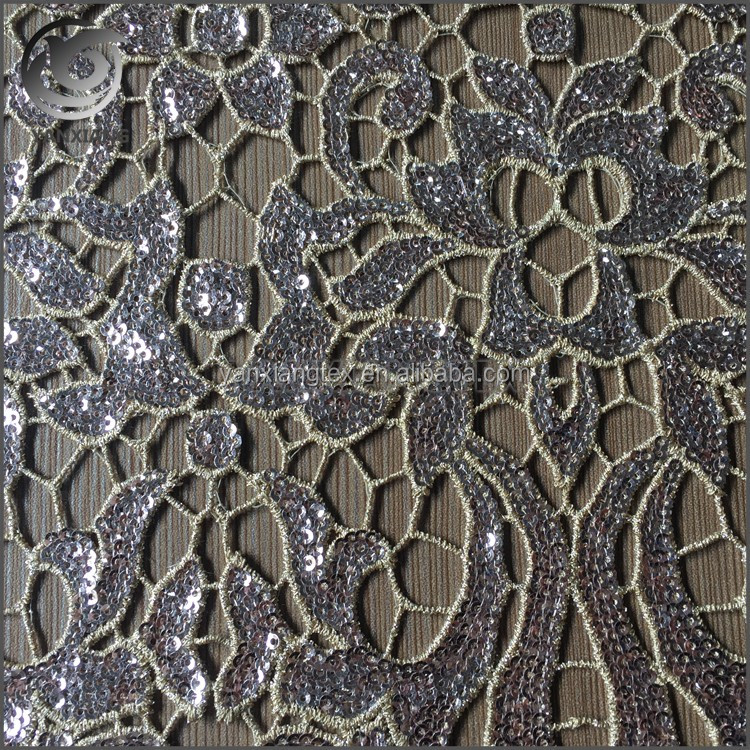 Excellent design full spangle sequin lace embroidery fabric