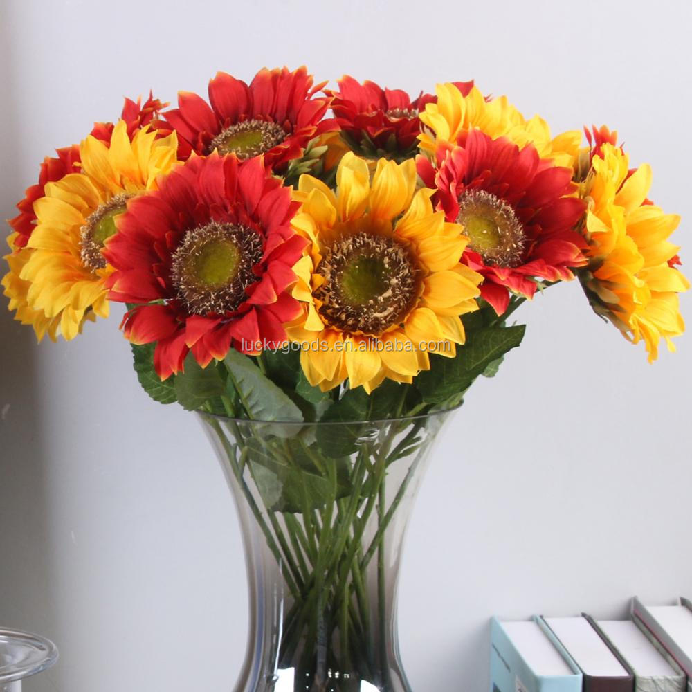 LF571 45cm single fake artificial sunflower stem in red and yellow color